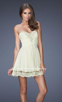 Picture of: Short Chiffon Prom Dress with Bedazzled Lace Underlay in Nude, Style: 19687, Main Picture