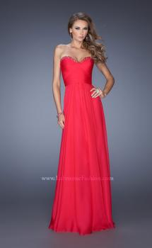 Picture of: Long Strapless Chiffon Prom Dress with a Gathered Bodice in Pink, Style: 19691, Main Picture