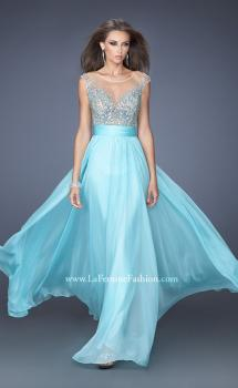 Picture of: Long Chiffon Prom Dress with Bedazzled Sheer Bodice in Blue, Style: 19694, Main Picture