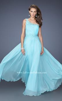 Picture of: One Shoulder Chiffon Long Prom Dress Trimmed with Lace in Blue, Style: 19706, Main Picture