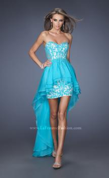 Picture of: High Low Fitted Prom Dress with Lace Applique in Blue, Style: 19707, Main Picture