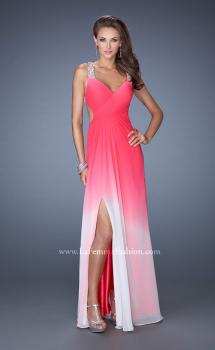 Picture of: Long Ombre Chiffon Prom Dress with Bedazzled Straps in Pink, Style: 19709, Main Picture
