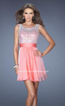 Picture of: Short Prom Dress with Chiffon Skirt and Sequin Bodice in Orange, Style: 19714, Main Picture