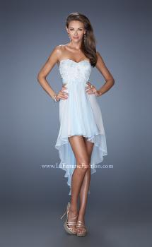 Picture of: Strapless High Low Chiffon Prom Dress with Embellished Lace in Blue, Style: 19716, Main Picture