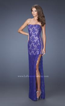 Picture of: Strapless Prom Dress Lace Overlay and an Open Side Slit, Style: 19717, Main Picture