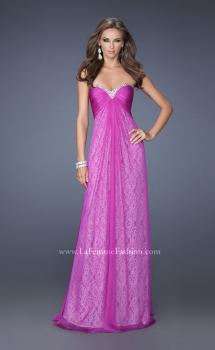 Picture of: Long Strapless Chiffon Prom Dress with Lace Underlay, Style: 19719, Main Picture