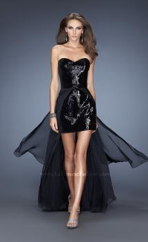Picture of: Strapless Sequin Fitted Dress with Detachable Chiffon Skirt in Black, Style: 19723, Main Picture