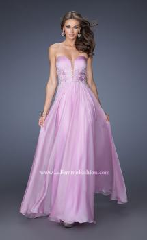Picture of: Long Chiffon Prom Dress with Ruched Bodice and Jeweled Lace, Style: 19724, Main Picture