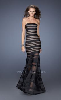 Picture of: Fitted Strapless Prom Dress with Satin Striped Overlay in Black, Style: 19728, Main Picture