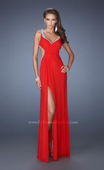 Picture of: Long Jersey Prom Dress with Ruched Bodice and Beading in Red, Style: 19729, Main Picture
