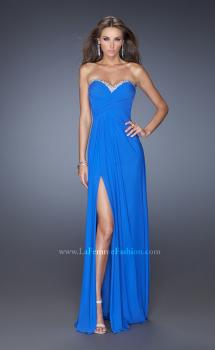 Picture of: Strapless Long Prom Dress with Beaded Trim on the Bodice in Blue, Style: 19731, Main Picture