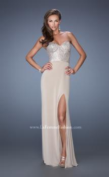 Picture of: Long Strapless Jersey Prom Gown with Sequin Bodice, Style: 19734, Main Picture