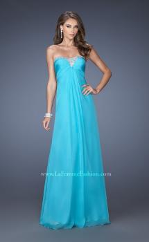 Picture of: Strapless Chiffon Long Prom Gown with Bedazzled Trim, Style: 19739, Main Picture