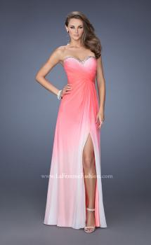 Picture of: Strapless Long Ombre Prom Gown with a Pleated Bodice in Pink, Style: 19742, Main Picture