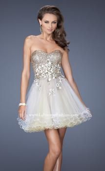 Picture of: Short Strapless Prom Dress with Sequin Bodice and Tulle Skirt in Nude, Style: 19748, Main Picture