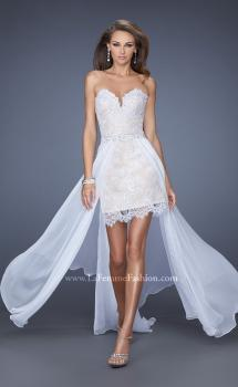 Picture of: Short Strapless Lace Dress with Detachable Chiffon Skirt in White, Style: 19749, Main Picture