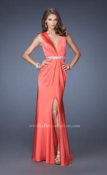 Picture of: Long Satin Prom Gown with a Deep V Neckline in Orange, Style: 19751, Main Picture