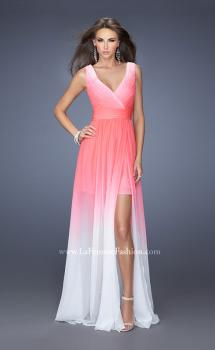 Picture of: Ombre Chiffon Prom Gown with a Sheer Skirt in Pink, Style: 19752, Main Picture