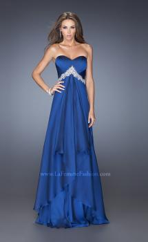 Picture of: Strapless Prom Gown with Pleated Bodice and Tiered Skirt in Blue, Style: 19756, Main Picture