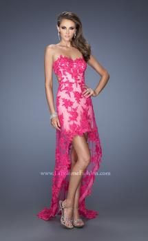 Picture of: Strapless High Low Dress with Lace Applique and a Sheer Skirt in Pink, Style: 19757, Main Picture