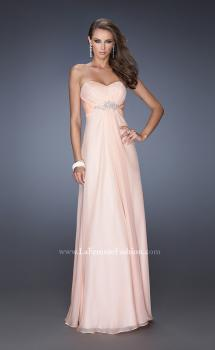 Picture of: Long Strapless Chiffon Prom Gown with Beaded Embroidery in Orange, Style: 19759, Main Picture