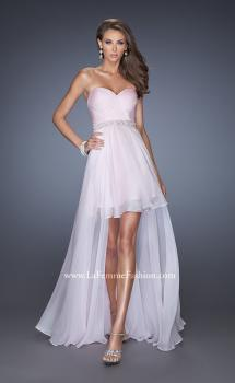 Picture of: High Low Strapless Chiffon Prom Dress with Beaded Details in Pink, Style: 19762, Main Picture