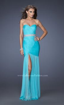 Picture of: Strapless Long Fitted Pleated Prom Dress with Sheer Skirt, Style: 19764, Main Picture