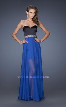 Picture of: Strapless Prom Dress with Attached Long Chiffon Overlay, Style: 19766, Main Picture