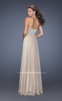 Picture of: Long Strapless Chiffon Prom Gown with Beaded Details, Style: 19767, Back Picture