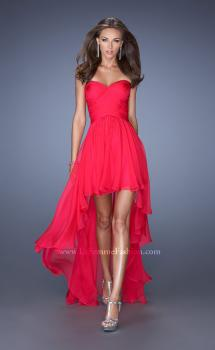 Picture of: High Low Sweetheart Strapless Chiffon Prom Dress in Pink, Style: 19791, Main Picture