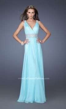 Picture of: Deep V Chiffon Prom Dress with Pleated Bodice in Blue, Style: 19802, Main Picture