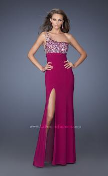 Picture of: One Shoulder Jersey Prom Dress with Stones and Sequins, Style: 19808, Main Picture