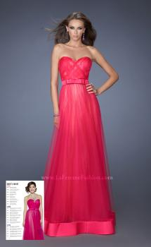 Picture of: Long Strapless Tulle Prom Dress with Satin Bow in Pink, Style: 19809, Main Picture