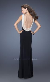 Picture of: Fitted Jersey Gown with Pearl Detail and Side Slit in Black, Style: 19814, Main Picture
