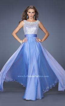 Picture of: High Scoop Neck Chiffon Dress with Sequin Fabric, Style: 19815, Main Picture