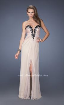 Picture of: Strapless Homecoming Dress with Jeweled Black Lace, Style: 19819, Main Picture