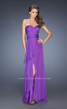Picture of: Long Strapless Prom Dress with Ruched Bodice and Pearls in Purple, Style: 19823, Main Picture