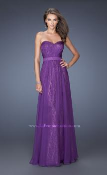 Picture of: Long Lace Prom Gown with Ruched Bodice and Belted Waist, Style: 19833, Main Picture