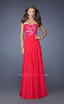 Picture of: Long Chiffon Prom Dress with Sequins and Lace Overlay, Style: 19834, Main Picture