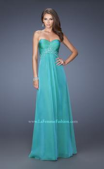 Picture of: A-line Prom Dress with Pleated Bodice and Rhinestones in Blu, Style: 19837, Main Picture