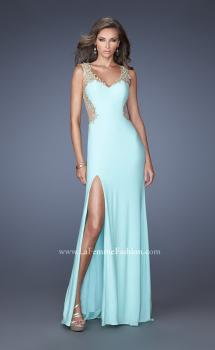 Picture of: Fitted Jersey Dress with Cut Outs, Stones, and Lace, Style: 19838, Main Picture