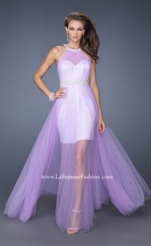 Picture of: Prom Dress with Solid Short Skirt and Sheer Tulle Overlay, Style: 19840, Main Picture