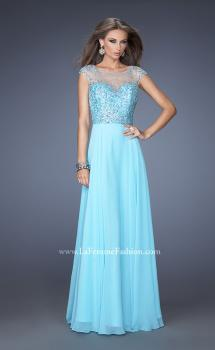 Picture of: A-line Chiffon Prom Dress with Cap Sleeves and Jewels in Blue, Style: 19857, Main Picture