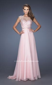 Picture of: Long Prom Dress with Cap Sleeves and Small Train in Pink, Style: 19858, Main Picture