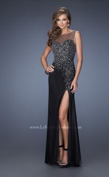 Picture of: Rhinestone Beaded Gown with High Illusion Neckline in Black, Main Picture