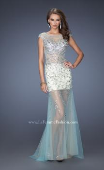 Picture of: Sheer Layered Net Dress with Cap Sleeves and Sequins in Blue, Style: 19863, Main Picture