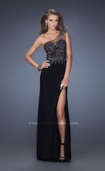 Picture of: Fitted Jersey Prom Gown with Side Slit and Beading in Black, Style: 19866, Main Picture