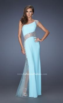 Picture of: Long Prom Dress with Jewel and Beaded Embellishments in Blue, Style: 19867, Main Picture
