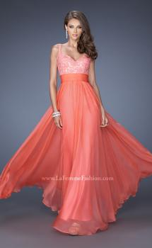 Picture of: Long Chiffon Prom Gown with Jewel Lace Bodice in Orange, Style: 19882, Main Picture