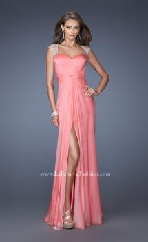 Picture of: Sweetheart Chiffon Gown with Sheer Cap Sleeves and Slit, Style: 19883, Main Picture